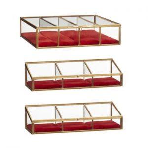 Set 3 cutii depozitare din sticlă cu alamă Hübsch Rojo