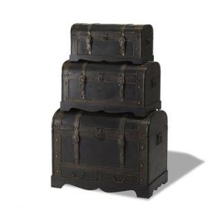 Set 3 cutii din lemn decorative Furnhouse Trunks Shadow