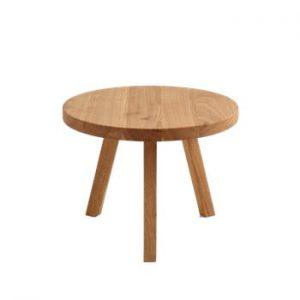 Măsuță auxiliară din lemn de stejar Custom Form Treben, diametru 60 cm