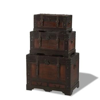 Set 3 cutii din lemn decorative Knuds Trunks Medieval