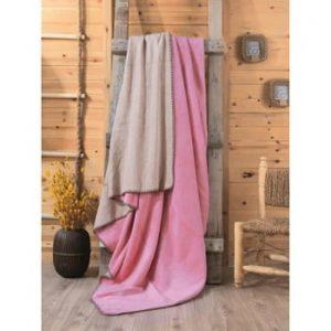 Pătură Sandra, 200 x 220 cm, roz - bej