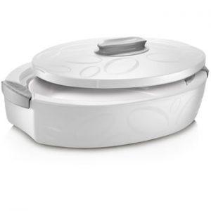 Cutie termică ovală cu vas de coacere Enjoy, 3 l, alb