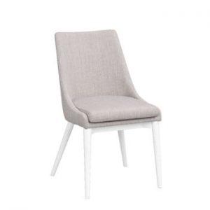 Scaun tapițat cu picioare albe Folke Bea, gri deschis