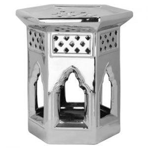 Masă din ceramică adecvată pentru exterior Safavieh Moroccan, ø40cm, argintiu