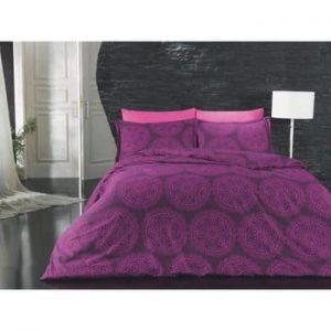 Lenjerie de pat din bumbac ranforce pentru pat dublu Pulse, 230 x 220 cm, violet
