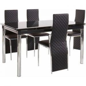 Set masă cu 4 scaune Støraa Pippa William Black, negru
