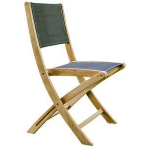 Set 2 scaune pliabile de grădină din lemn de tec Ezeis Navy, natural-gri