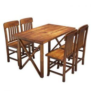 Set masă și 4 scaune din lemn de pin Mostar
