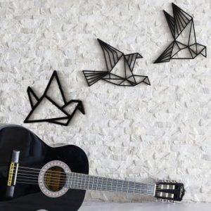 Set 3 decorațiuni de perete Fly Away, negru