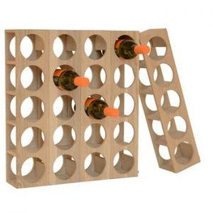 Suport din lemn pentru 5 sticle de vin Wireworks Wine