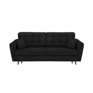 Canapea extensibilă cu 3 locuri și spațiu pentru depozitare Cosmopolitan Design Lyon, negru