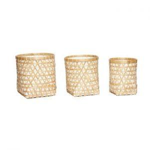 Set 3 coşuri depozitare din bambus Hübsch Hellige