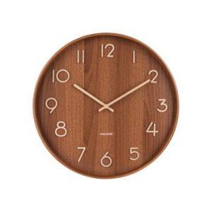 Ceas de perete din lemn de tei Karlsson Pure Large, maro, ø 60 cm