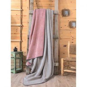 Pătură Mily, 200 x 220 cm, gri - roz