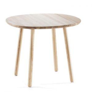 Masă dining din lemn masiv EMKO Naïve, ø 90 cm, natural