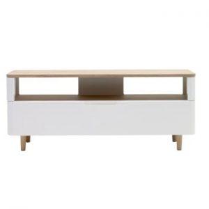 Comodă TV din lemn de stejar alb Unique Furniture Amalfi