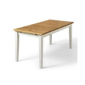 Masă din lemn de pin Støraa Daisy, 75 x 160 cm, picioare albe