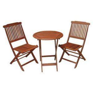 Set masă și 2 scaune din lemn de eucalipt pentru balcon ADDU Prague