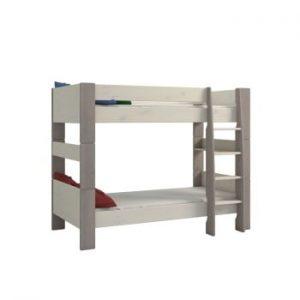 Pat supraetajat din lemn de pin pentru copii cu picioare gri Steens For Kids, înălțime 164cm, alb