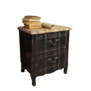 Noptieră din lemn de gorun Orchidea Milano New Vintage, negru