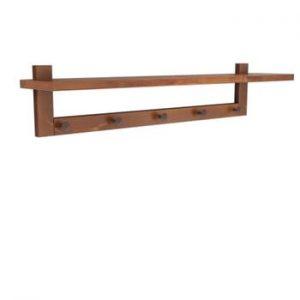 Poliță perete din lemn de pin Muzzo Wood Walnut, lungime 80 cm