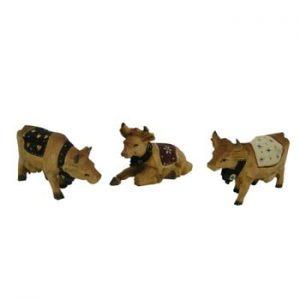 Set 3 figurine din lemn Antic Line Cow