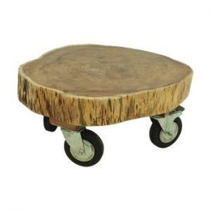 Suport din lemn de acacia pe roți HSM collection Boom, Ø 65 cm