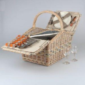 Coș pentru picnic din ratat pentru 4 persoane cu o cutie termică Dakls Picnic