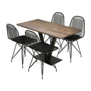 Set masă și 4 scaune din lemn de pin Sun Walnut