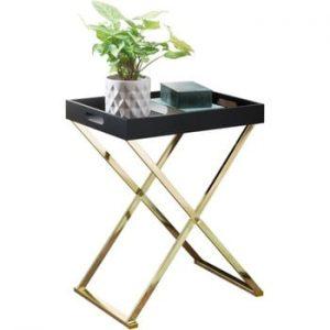 Măsuță cu picioare aurii Skyport Nina TV, înălțime 61 cm, negru