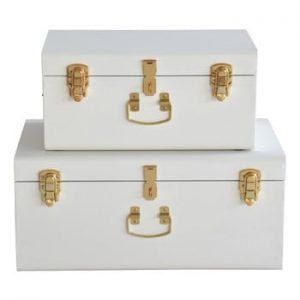 Set 2 valize metalice RGE Stella Matteus, alb