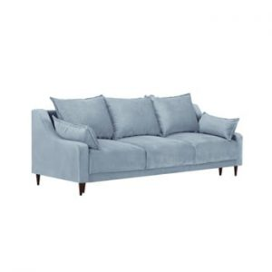 Canapea extensibilă cu 3 locuri și spațiu de depozitare Mazzini Sofas Freesia, albastru deschis