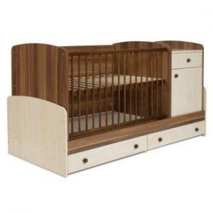 Pătuț pentru copii cu sertar și bandă de protecție Faktum Makao Kombi, 70 x 120 cm