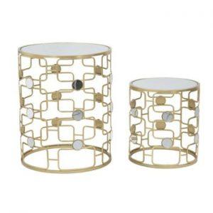 Set 2 măsuțe de cafea cu structură aurie Mauro Ferretti Coppia