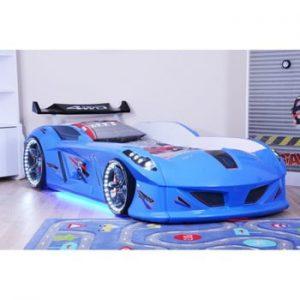 Pat în formă de automobil cu lumini LED pentru copii Speedy, 90 x 190 cm, albastru