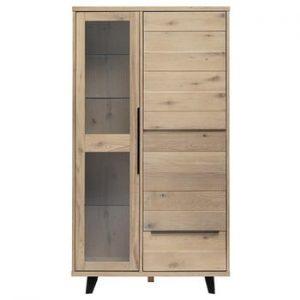 Vitrină din lemn de stejar alb Unique Furniture Novara