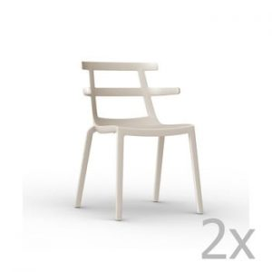 Set 2 scaune de grădină Resol Tokyo, crem