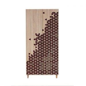 Dulap cu 2 uși Stil Geometry Red, 90 x 192 cm