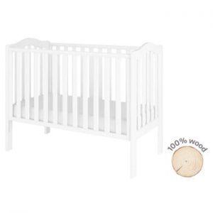 Pătuț pentru copii din lemn de pin BELLAMY Wave,60x120cm, alb
