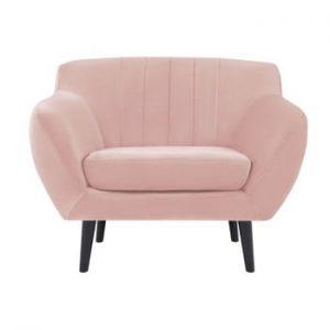 Fotoliu cu picioare negre Mazzini Sofas Toscane, roz deschis