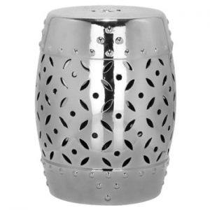 Masă din ceramică adecvată pentru exterior Safavieh Cyprus, ø33cm, argintiu