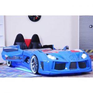 Pat în formă de automobil cu lumini LED pentru copii Racero, 90 x 190 cm, albastru