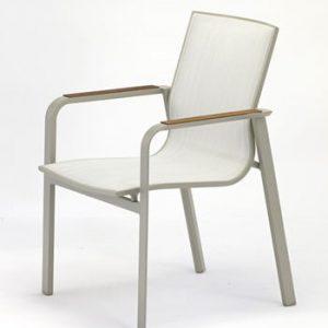 Set 4 scaune de grădină cu detalii din lemn de tec Ezeis Rotonde