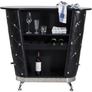 Masă de bar cu raft pentru 5 sticle de vin Kare Design Rocky, negru