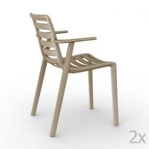 Set 2 scaune grădină, cu cotiere, Resol Slatkat, bej