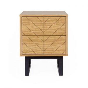 Noptieră din lemn de mesteacăn Woodman Mora Herringbone Print