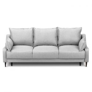Canapea extensibilă cu 3 locuri și spațiu pentru depozitare Mazzini Sofas Ancolie, gri deschis