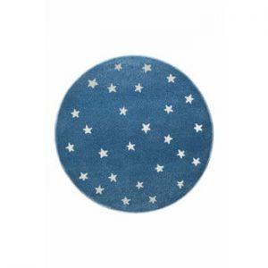 Covor rotund KICOTI Stars, ø 133 cm, albastru-alb