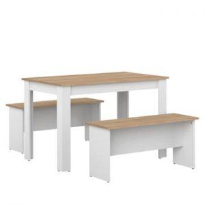 Set masă și 2 bănci cu blat în decor de lemn de fag Symbiosis Nice, alb