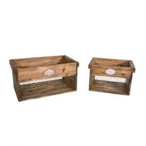 Set 2 cutii depozitare din lemn Antic Line